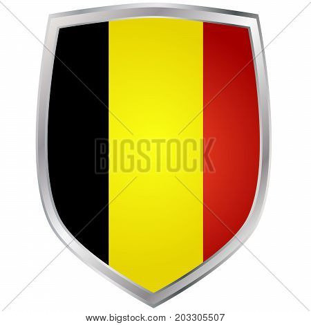 Metal shield with flag of Belgium vector illustration on white