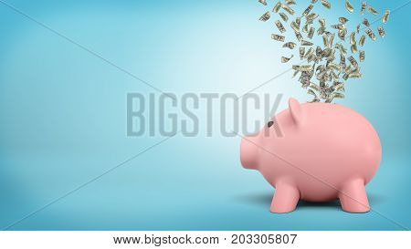 3d rendering of a large piggy bank in side view with a hurricane of green dollar bills is flying out from its back slot. Spending spree. Investment or saving. Let money work.