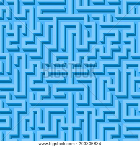 Maze seamless pattern with blue endless tiled labyrinth for fabric or wallpaper