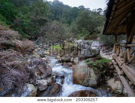 Small Mountain River, Beautiful Greenery Landscape, Ciwidey, Bandung, Indonesia