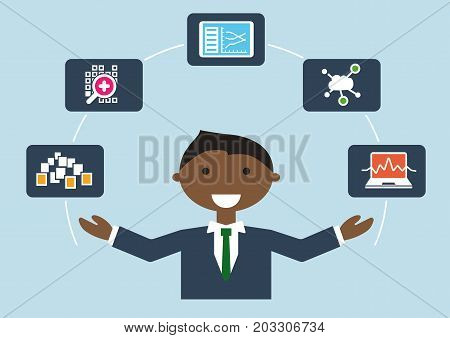 IT job profile vector illustration of business person. IT expert for big data also called data scientist or data science analyst