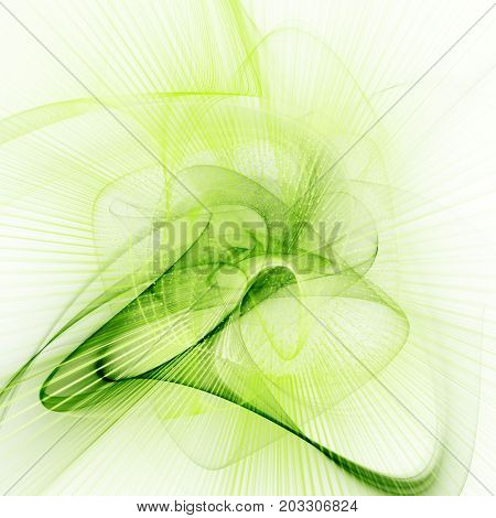 Abstract green and white background. Fractal graphics series. Three-dimensional composition of dots, waves and rays of light.