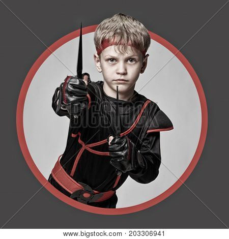 Avatar of young ninja with throwing knives icon in circle. in Dramatic tones