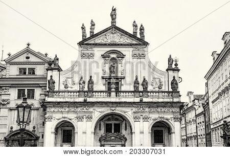 Saint Salvator church in Prague Czech republic. Architectural scene. Travel destination. Black and white photo.