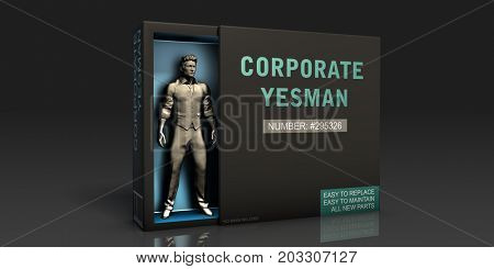 Corporate Yesman Employment Problem and Workplace Issues 3d Render