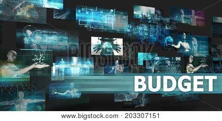 Budget Presentation Background with Technology Abstract Art 3d Render