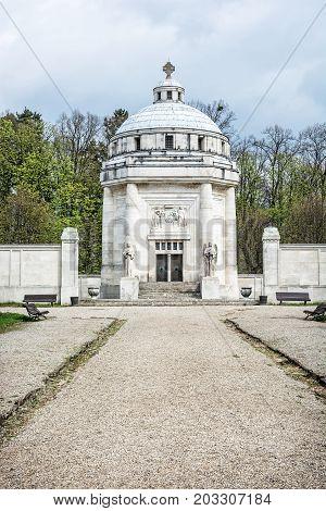 Mausoleum of The Andrassy family near castle Krasna Horka Slovak republic. Architectural theme.