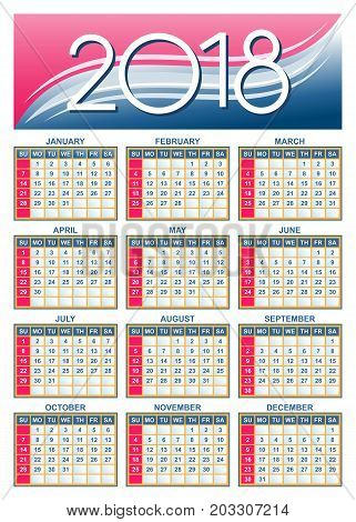 Template - USA (american) calendar grid 2018 in vector