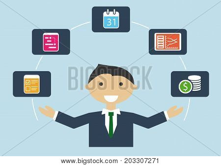 People at work: vector illustration of project manager who manages project plan, budget, tasks