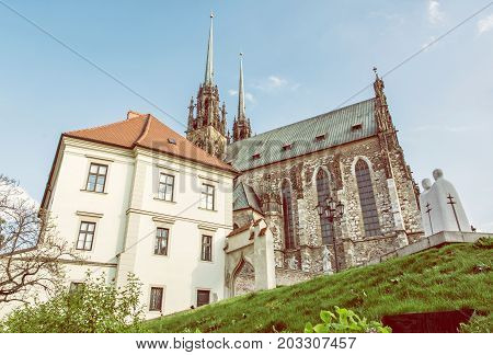 Famous Cathedral of St. Peter and Paul Brno Moravia Czech republic. Travel destination. Religious architecture. Beauty photo filter.