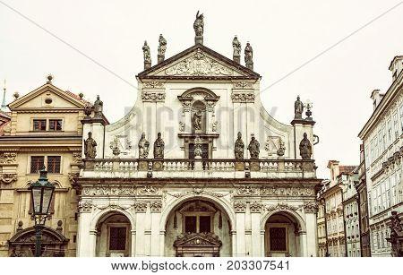 Saint Salvator church in Prague Czech republic. Architectural scene. Travel destination. Old photo filter.