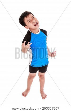 Full body of angry asian child cyclist screaming with opened mouth. Isolated on white background. Negative human face expressions emotion conflict. Concept about aggressive behavior in childhood.