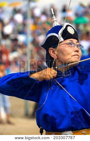 Naadam Festival Female Archery Blue Pulling Bow