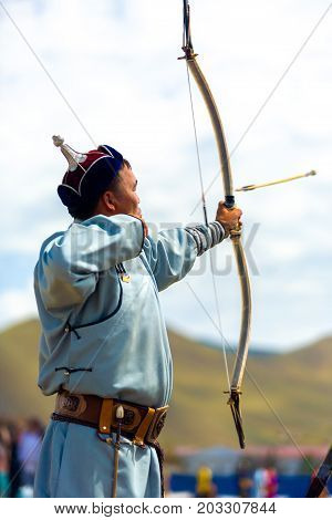 Naadam Festival Male Archery Arrow Flying Launched