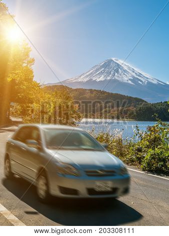 Car Driving Near Mt Fuji In Japan With Motion Blur