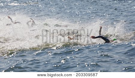 STOCKHOLM - AUG 26 2017: Arms of swimming female competitors fighting water squirting in the Women's ITU World Triathlon series event August 22 2017 in Stockholm Sweden