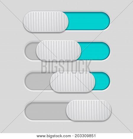 Interface slider. Blue bar on gray background. Vector illustration