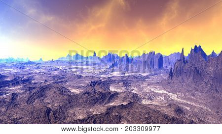 Fantasy Alien Planet. 3D Rendering