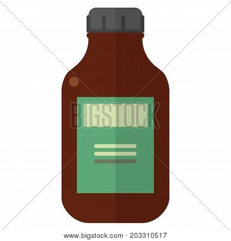 Bottle with medicament vector illustration. Flat style design. Colorful graphics