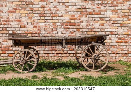 Old vintage wooden cart. Traditional wooden cart. Russia