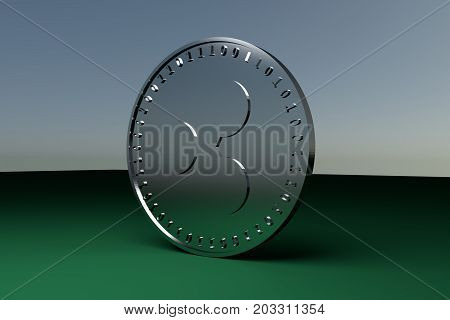 Silver coin with the symbol of the digital crypto currency Ripple reflects the light and stands on the edge on the green cloth 3d rendering