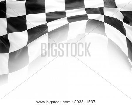 Checkered black and white flag on white
