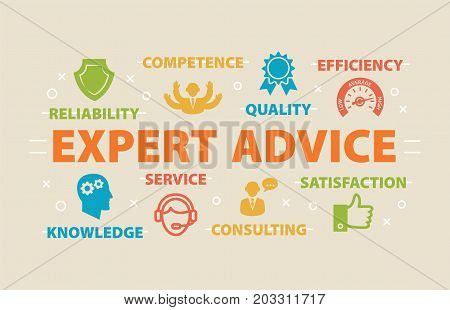 EXPERT ADVICE Concept with icons and signs