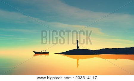 Man on the shore and a boat on the lake at sunset. This is a 3d render illustration
