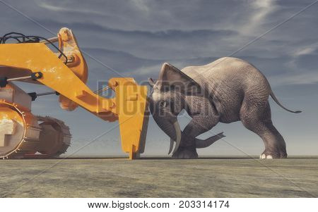 An elephant tries its force with a yellow bulldozer. Conceptual image. This is a 3d render illustration.