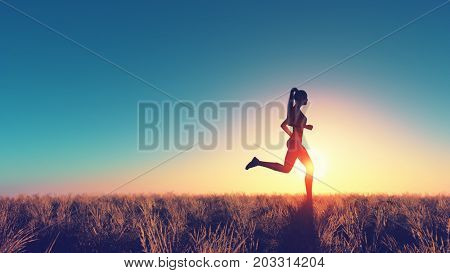 Young woman running in a field of dry grass. This is a 3d render illustration