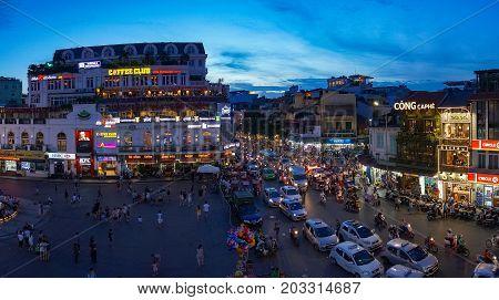 Hanoi City Centre On Rush Hour With Heavy Traffic