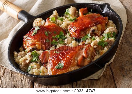 Natural Food: Baked Chicken Thighs With Quinoa And Mushrooms Close Up. Horizontal