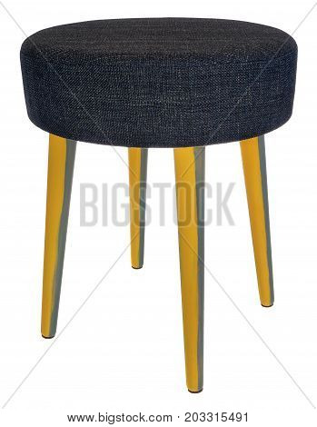 Handmade Stool In Yellow And Gray With Dark Blue Material.