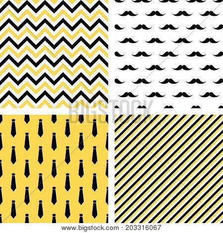 Set of printable vector seamless male patterns. Wrapping paper, wallpaper, fashion print design. Mustaches, neckties, chevron