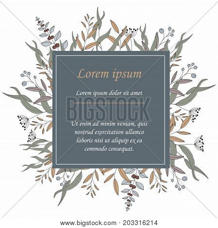 Vector invitation or greeting card with floral elements