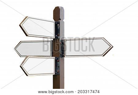 Multi wooden directional sign post over white