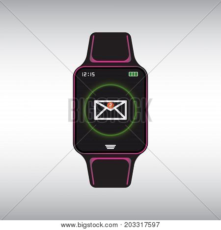 Black smart watch with a new mail message notification at the screen. Smart watch isolated vector icon. Smart watch flat vector sign.