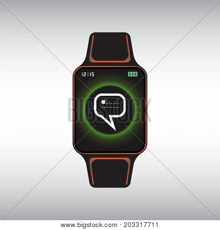 Black smart watch with a new message notification at the screen. Smart watch flat vector sign. Isolated smart watch icon.