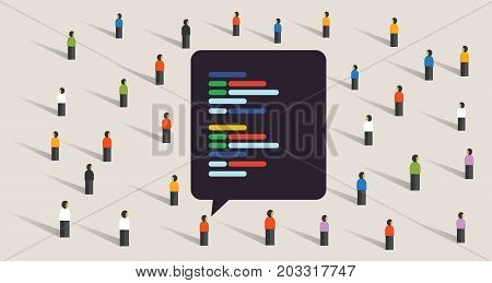 open source software development coding collaboration crowd working together line of code exchange digital vector