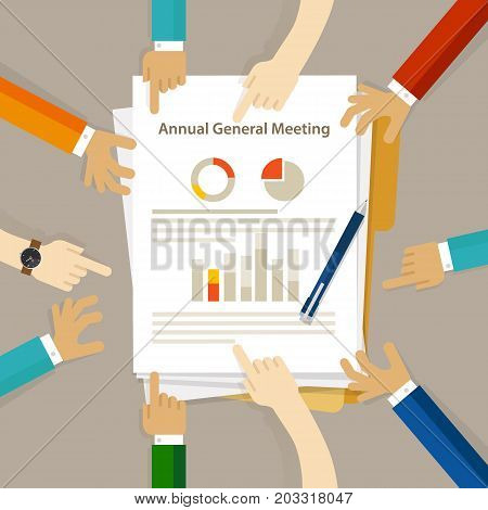 AGM Annual General Meeting shareholder board discuss company review financial profit chart hand collaboration on paper vector