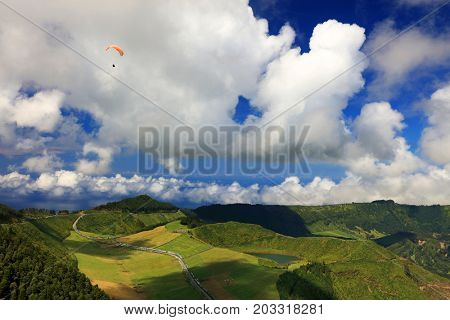 Paraglider over Sete Cidades, Sao Miguel Island, Azores, Portugal, Europe