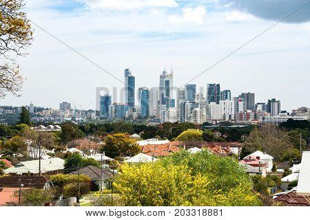 Perth city skyline. Perth, Western Australia, Australia. Photographed September 8, 2017.