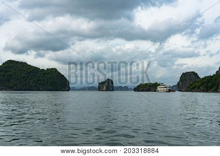 Halong Bay Landscape With Picturesque Karst Islands