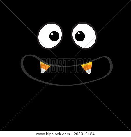 Scary face emotions. Big eyes mouth with candy corn Vampire tooth fang. Happy Halloween. Baby Greeting card. Flat design style Black background. Vector illustration