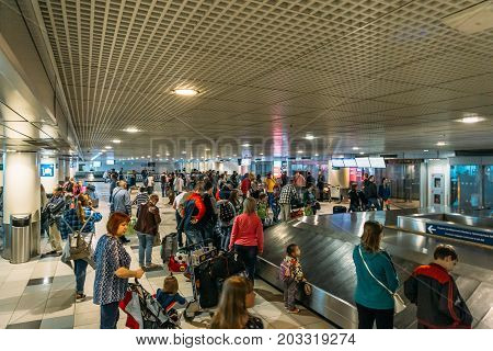 Moscow, Domodedovo, Russia - May 29, 2017: A lot of passengers in the airport waiting room, travelers are waiting for their plane