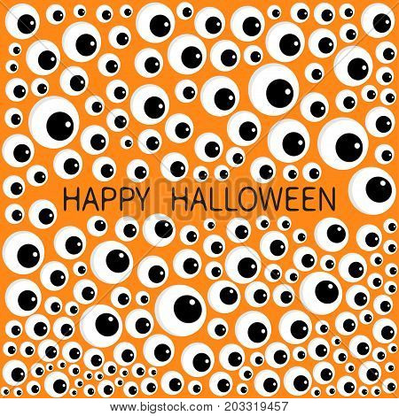 Eyes frame. Eyeball apple set. Happy Halloween baby card. Spooky orange funny background. Flat design. Vector illustration