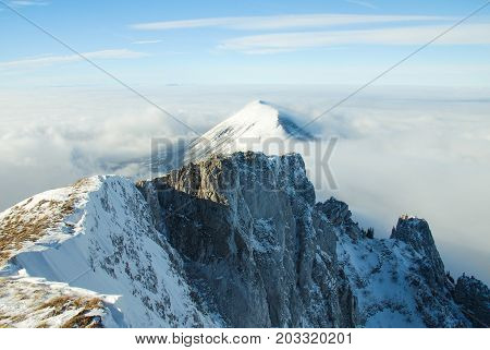 Mountain peak above the clouds. Sunny winter day on mountain above the clouds. Dry mountain in Serbia in winter with highest peak Trem
