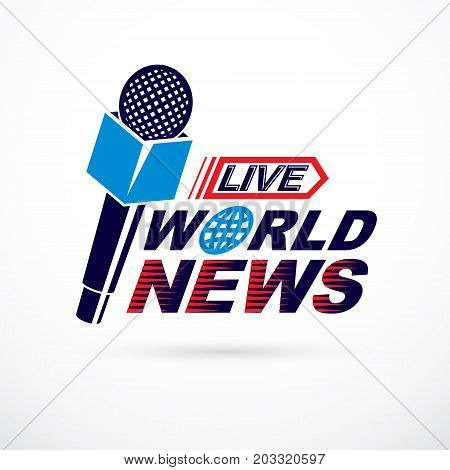 News and facts reporting vector logo composed using world news inscription and journalistic microphone equipment.