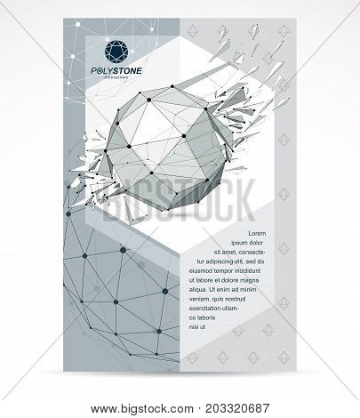New technology theme booklet cover design front page. Abstract asymmetric broken geometric 3d faceted black and white object modern digital technology and science theme vector illustration.