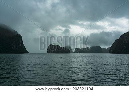 Landscape Of Karst Islands Of Halong Bay On Mist